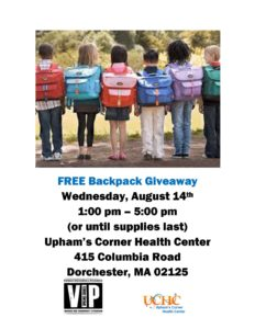 Back To School - Backpack Giveaway @ Upham's Corner Health Center